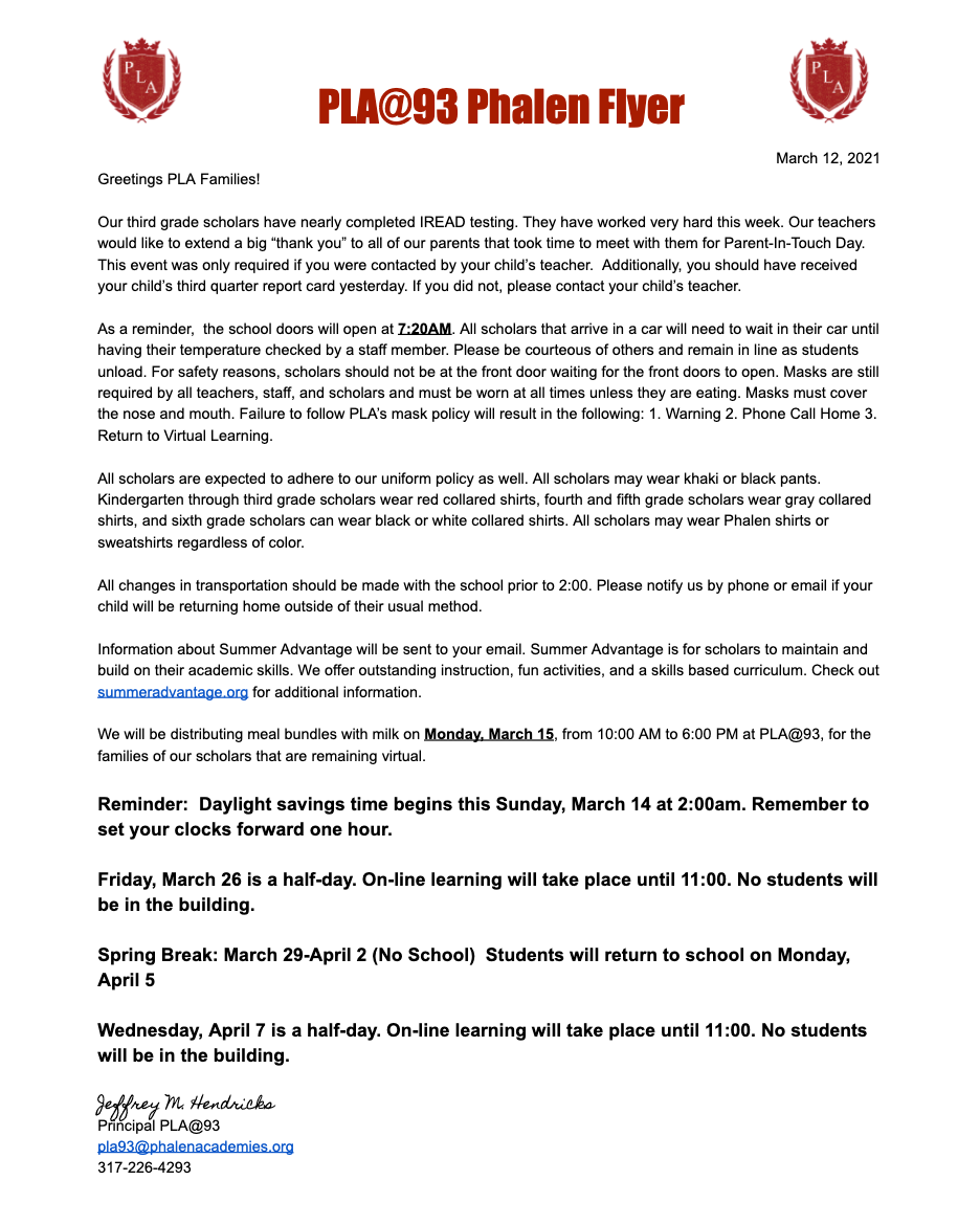 Phalen Leadership Academies at 93. March 12th News