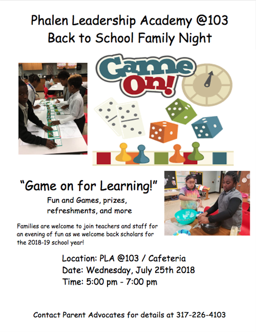 Flyer for Back to School Family Night