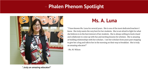 Phalen Phenom Spotlight Featuring Ms. Luna (1st grade teacher)