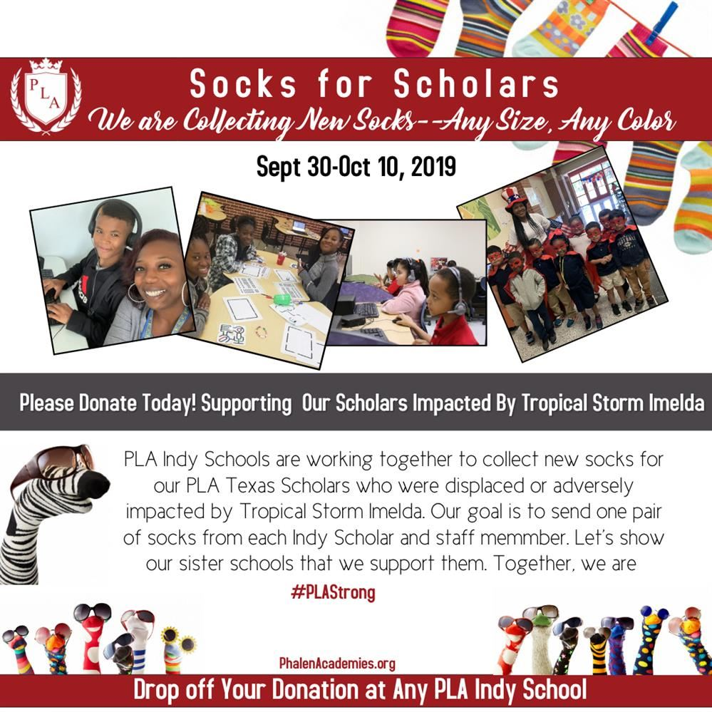 PLA Indy Schools are collecting new socks of any size and any color to help support PLA Texas schol