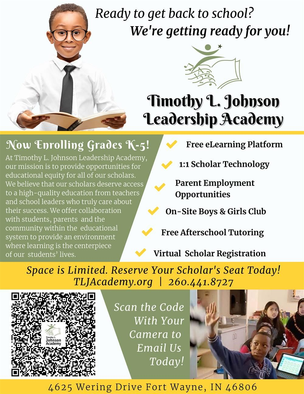 Now Enrolling Grades K-5 at Timothy L. Johnson Academy!