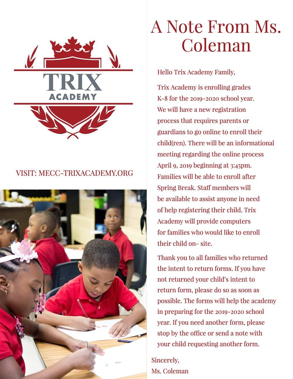 Trix Academy A note from Ms. Coleman