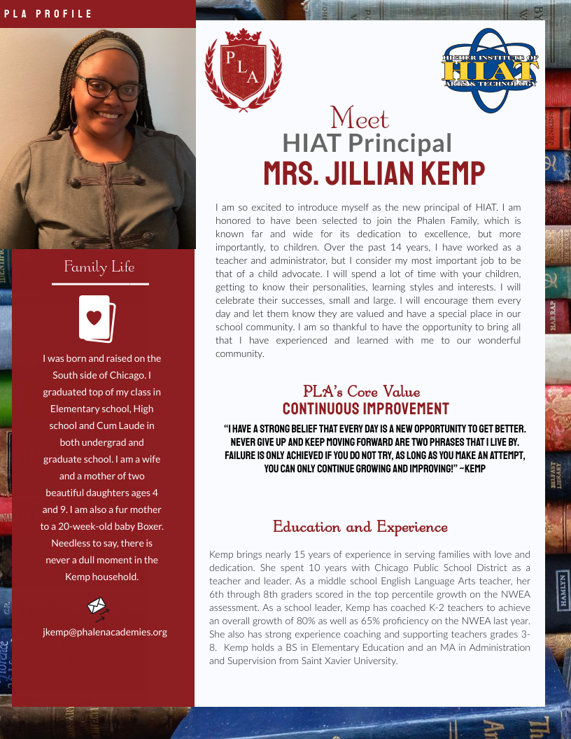 HIAT Welcomes Mrs. Jillian Kemp as Principal