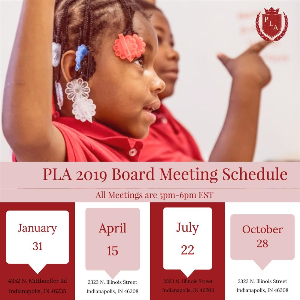 Board Meeting schedule graphic with set meeting dates
