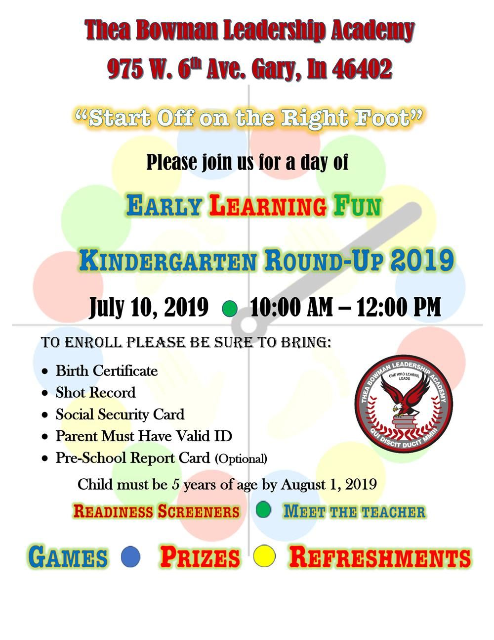 Join us for food, games and family fun at TBLA Elementary's Kindergarten Roundup.