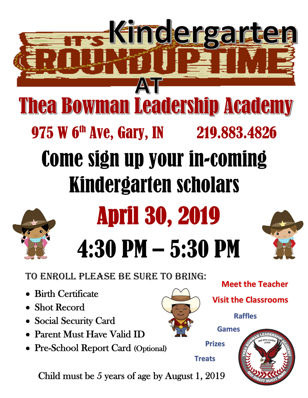 Thea Bowman Leadership Academy to Host 2nd Kinder Roundup April 30