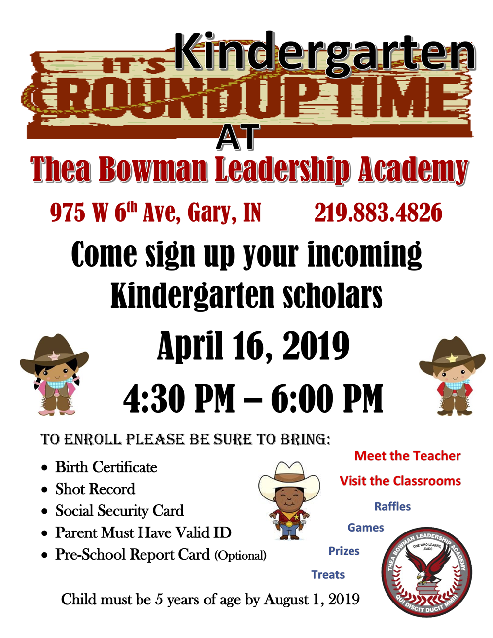 Ready to Start Kindergarten? Join us for Kindergarten Roundup April 16th!