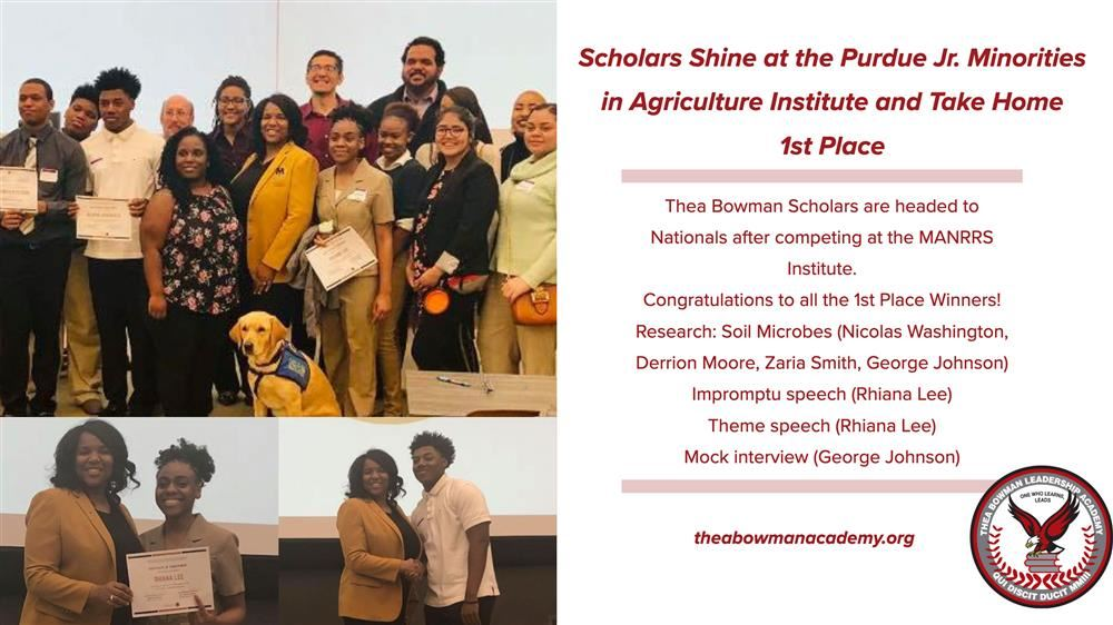 Thea Bowman Scholars earning their award at the Minorities in Agriculture Institute. Students took home 1st place for thei