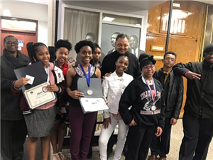 Thea Bowman Leadership Academy Scholars with Reverend Jesse Jackson