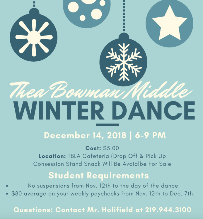 Thea Bowman Leadership Academy Winter Dance Event Flyer