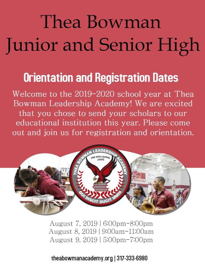 Thea Bowman Leadership Academies Middle/High Registration