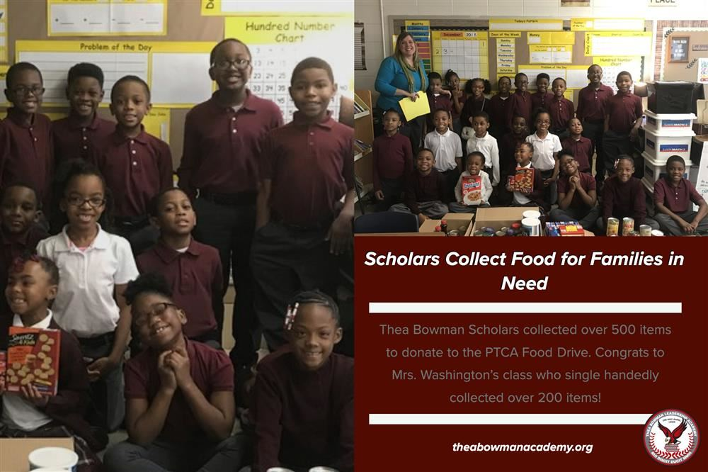 Bowman scholars collected 500 items for the PTCA Food Drive. Graphic