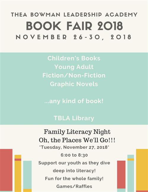 Book Fair November 26-Nov 30. Lit Night November 27th.