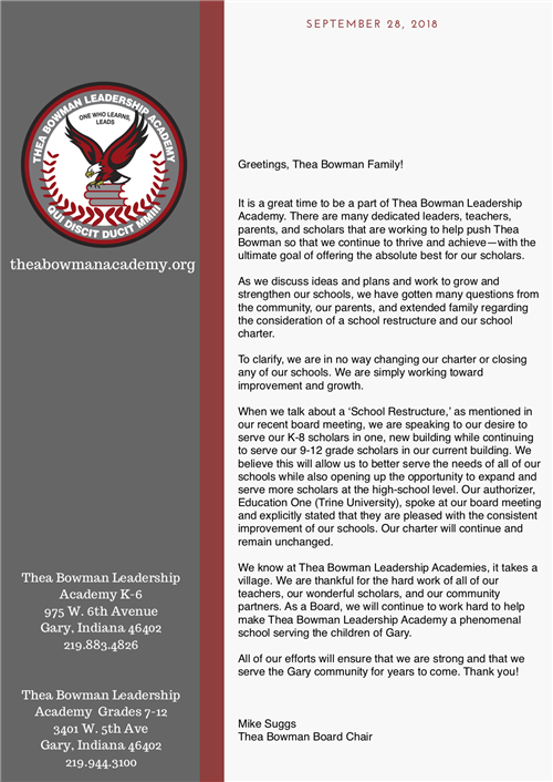 image of the letter from board chair Mike Snuggs. Please click link to view full text.