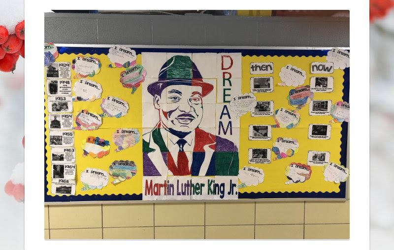 Martin Luther King Jr. art on a classroom wall