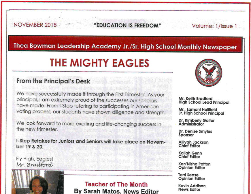 Thea Bowman Leadership Academy Eagle Times Newspaper