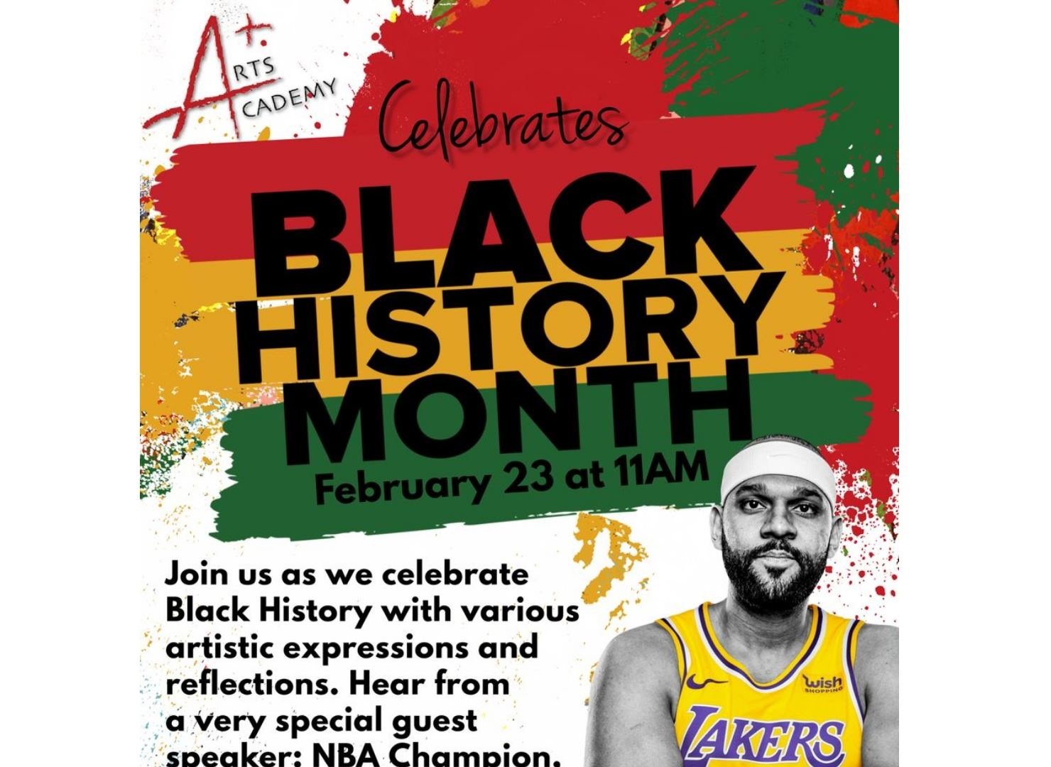 Join us as we honor Black History Month at a special event for A+ Arts Academy families on Tuesday, February 23 at 11:00 a.m.