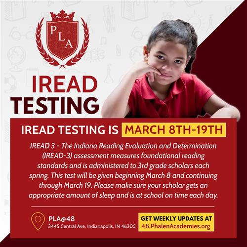 PLA@48 IREAD Testing March 8th