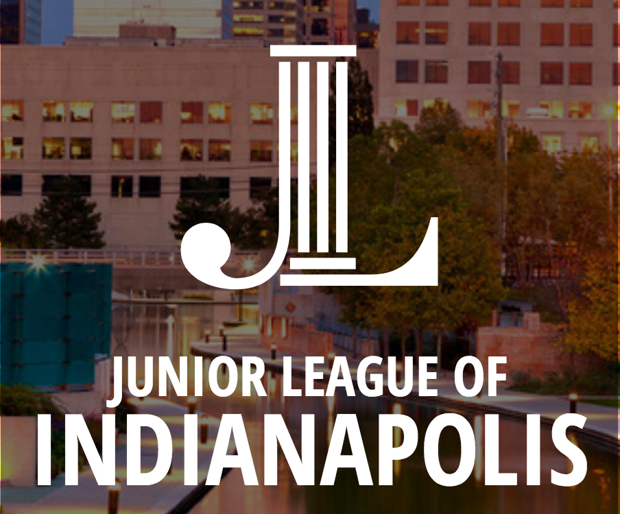 A graphic including the Junior League of Indy logo using the city of Indianapolis as a back drop.