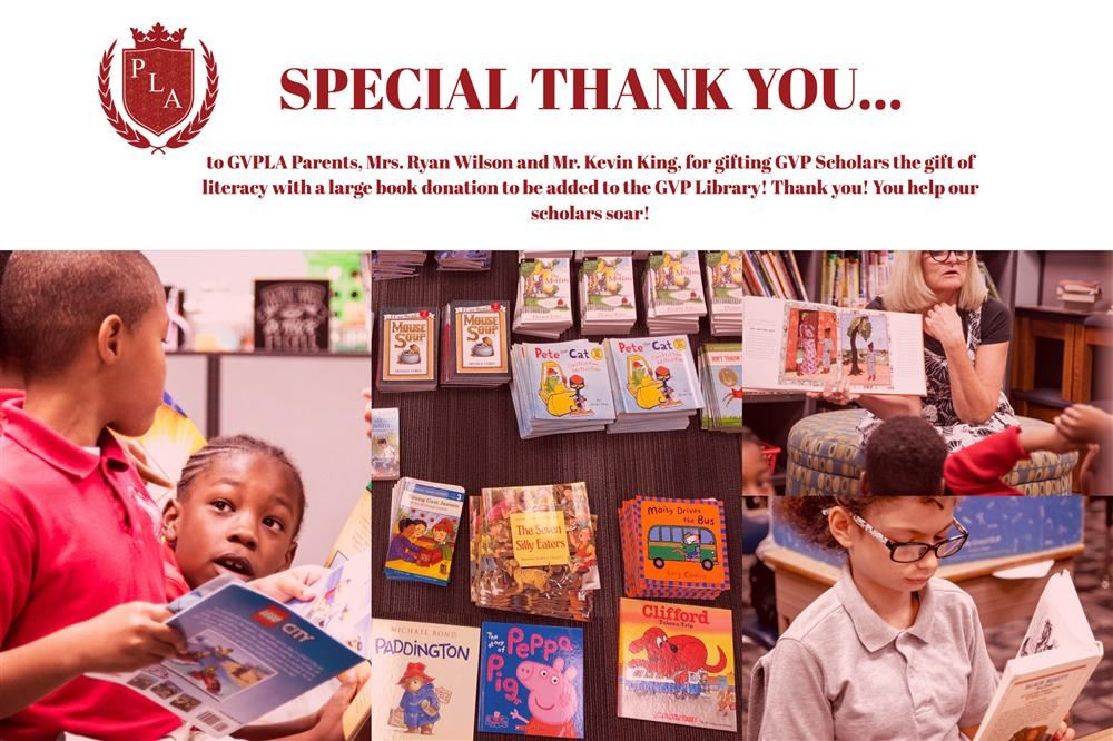 A thank you note to the GVP familiy that donated books along with pictures of our scholars reading.