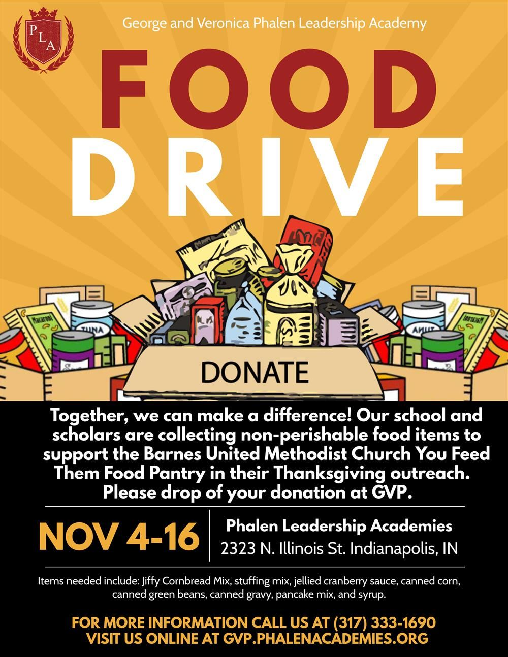 Phalen LEadership Academies Food Drive Nov 4-Nov 16