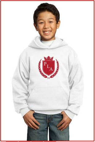 Child wearing a PLA hooded sweat shirt
