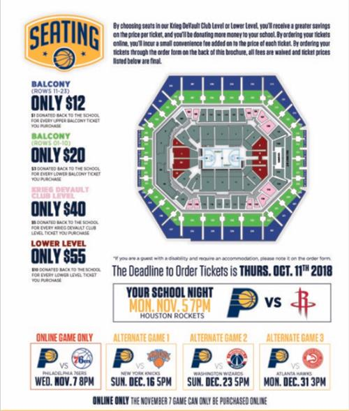 Pacers prices and seating chart