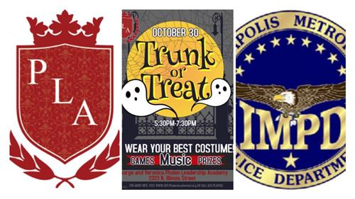PLA Logo, Trunk or Treat Flyer with date (October 30 5:30pm-7:30 pm) and IMPD logo