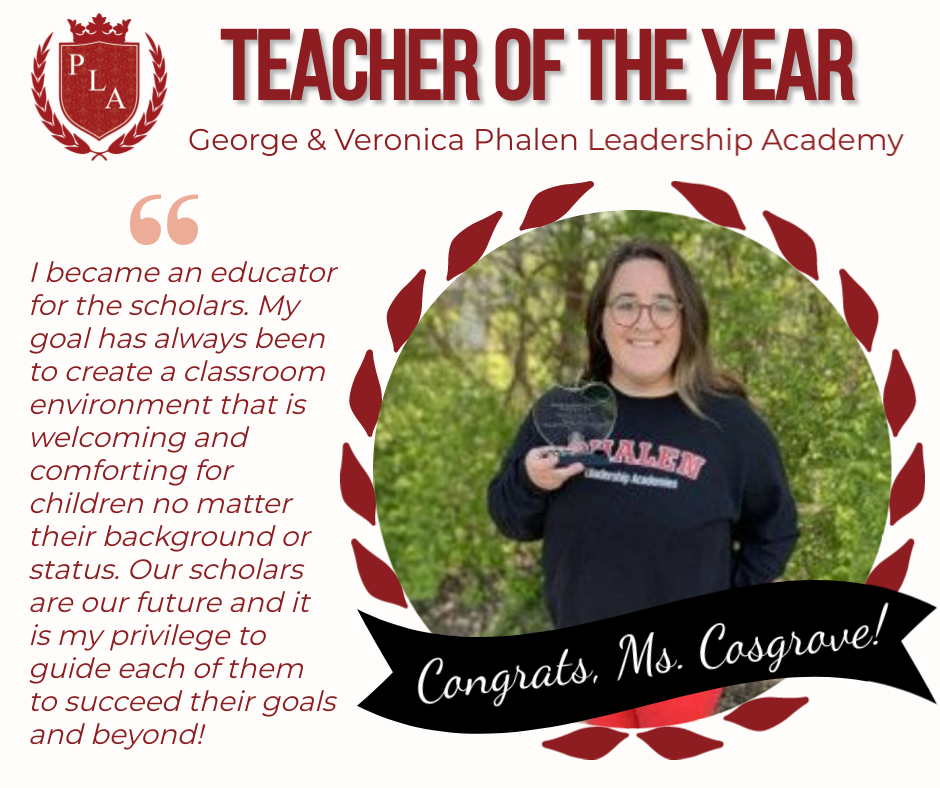 Congratulations to Our Teacher of the Year, Ms. Cosgrove!
