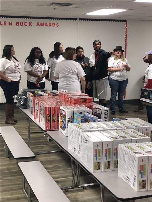 Volunteers at JRP setting up fo rthe Christmas Toy Drive.